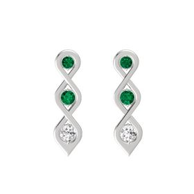 Round Emerald Sterling Silver Earrings with Emerald & White Sapphire