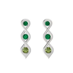 Round Emerald Sterling Silver Earring with Emerald and Green Tourmaline