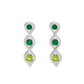 Round Emerald Sterling Silver Earring with Emerald and Peridot