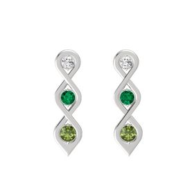 Round Emerald Sterling Silver Earrings with White Sapphire & Green Tourmaline
