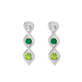 Round Emerald Sterling Silver Earring with White Sapphire and Peridot
