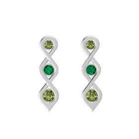 Round Emerald Sterling Silver Earrings with Green Tourmaline