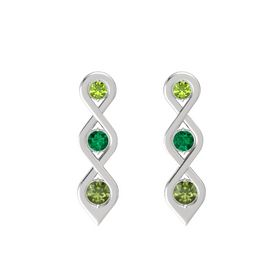 Round Emerald Sterling Silver Earring with Peridot and Green Tourmaline