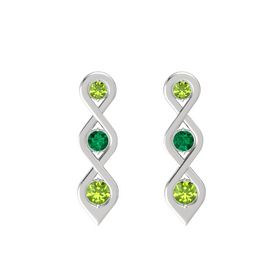 Round Emerald Sterling Silver Earring with Peridot