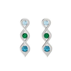 Round Emerald Sterling Silver Earring with Aquamarine and London Blue Topaz