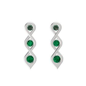 Round Emerald Sterling Silver Earrings with Alexandrite & Emerald