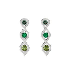 Round Emerald Sterling Silver Earrings with Alexandrite & Green Tourmaline