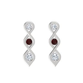 Round Red Garnet Sterling Silver Earring with Diamond