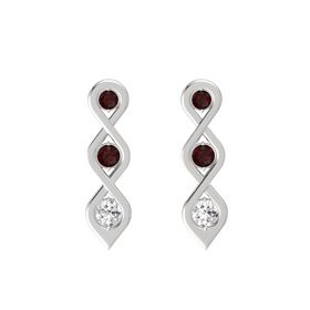 Round Red Garnet Sterling Silver Earring with Red Garnet and White Sapphire