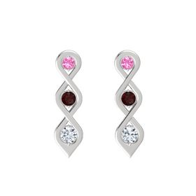 Round Red Garnet Sterling Silver Earring with Pink Tourmaline and Diamond