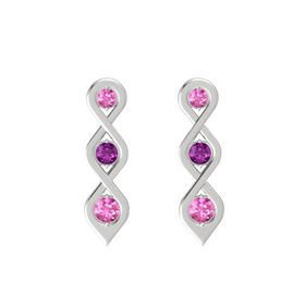 Round Rhodolite Garnet Sterling Silver Earring with Pink Sapphire