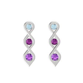 Round Rhodolite Garnet Sterling Silver Earring with Aquamarine and Amethyst