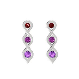 Round Rhodolite Garnet Sterling Silver Earring with Ruby and Amethyst
