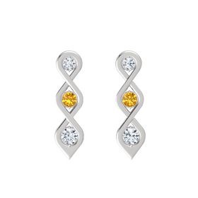 Round Citrine Sterling Silver Earrings with Diamond