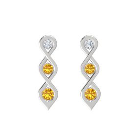 Round Citrine Sterling Silver Earring with Diamond and Citrine