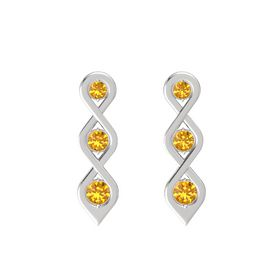 Round Citrine Sterling Silver Earring with Citrine