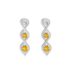 Round Citrine Sterling Silver Earring with White Sapphire and Citrine