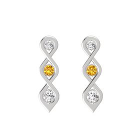 Round Citrine Sterling Silver Earrings with White Sapphire