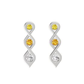 Round Citrine Sterling Silver Earrings with Yellow Sapphire & White Sapphire