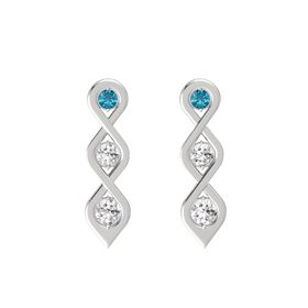 Round White Sapphire Sterling Silver Earring with London Blue Topaz and White Sapphire