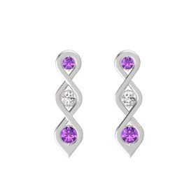 Round White Sapphire Sterling Silver Earring with Amethyst