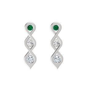 Round White Sapphire Sterling Silver Earring with Emerald and Diamond