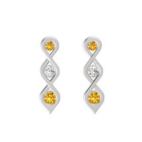 Round White Sapphire Sterling Silver Earring with Citrine