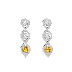 Round White Sapphire Sterling Silver Earring with White Sapphire and Citrine