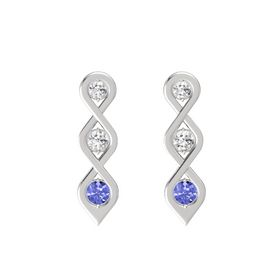 Round White Sapphire Sterling Silver Earring with White Sapphire and Tanzanite