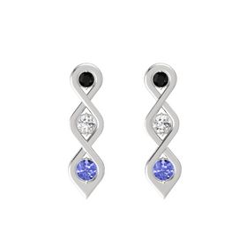 Round White Sapphire Sterling Silver Earring with Black Onyx and Tanzanite