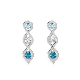Round White Sapphire Sterling Silver Earrings with Aquamarine & London Blue Topaz
