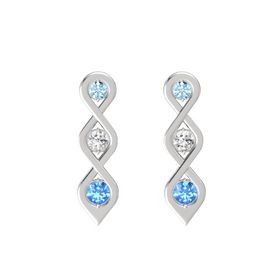 Round White Sapphire Sterling Silver Earrings with Aquamarine & Blue Topaz
