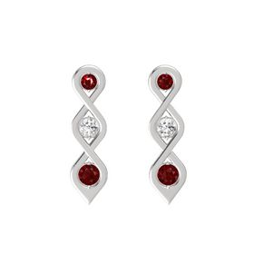 Round White Sapphire Sterling Silver Earring with Ruby