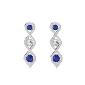 Round White Sapphire Sterling Silver Earrings with Sapphire