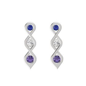 Round White Sapphire Sterling Silver Earring with Blue Sapphire and Iolite