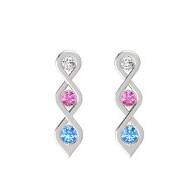 Round Pink Sapphire Sterling Silver Earrings with White Sapphire & Blue Topaz
