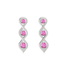 Round Pink Sapphire Sterling Silver Earrings with Pink Sapphire