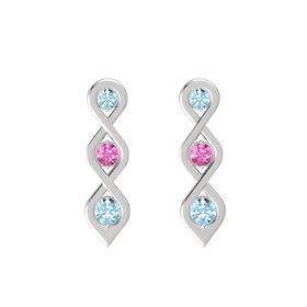 Round Pink Sapphire Sterling Silver Earrings with Aquamarine