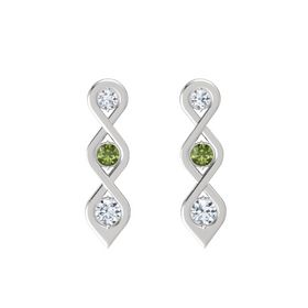 Round Green Tourmaline Sterling Silver Earring with Diamond