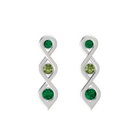 Round Green Tourmaline Sterling Silver Earrings with Emerald