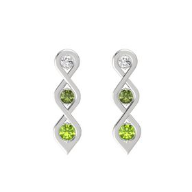 Round Green Tourmaline Sterling Silver Earring with White Sapphire and Peridot