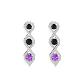 Round Black Onyx Sterling Silver Earrings with Black Onyx & Amethyst