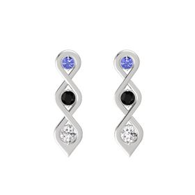 Round Black Onyx Sterling Silver Earring with Tanzanite and White Sapphire