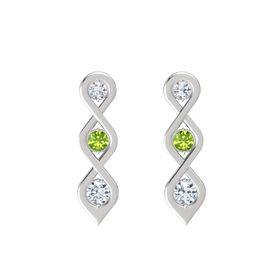 Round Peridot Sterling Silver Earring with Diamond