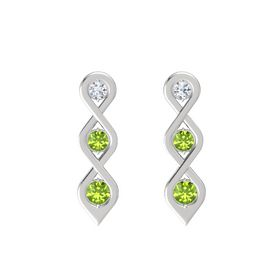 Round Peridot Sterling Silver Earrings with Diamond & Peridot