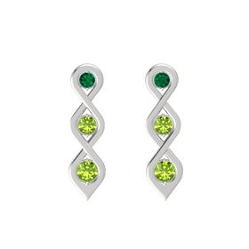 Round Peridot Sterling Silver Earrings with Emerald & Peridot
