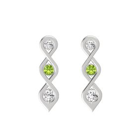 Round Peridot Sterling Silver Earring with White Sapphire