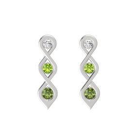 Round Peridot Sterling Silver Earrings with White Sapphire & Green Tourmaline
