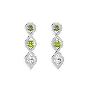 Round Peridot Sterling Silver Earring with Green Tourmaline and White Sapphire