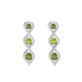 Round Peridot Sterling Silver Earrings with Green Tourmaline